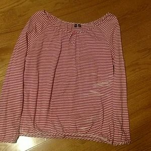 Red/gray stripped shirt